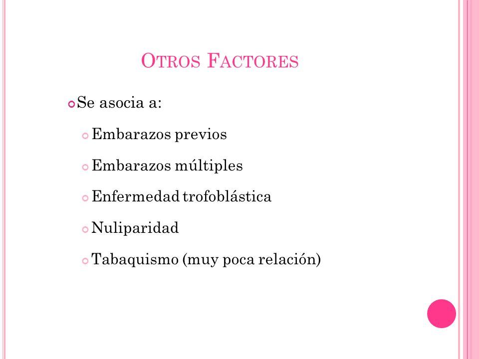 O TROS F ACTORES Se asocia a: Embarazos previos Embarazos múltiples Enfermedad trofoblástica Nuliparidad Tabaquismo (muy poca relación)