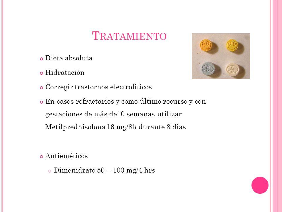 T RATAMIENTO Dieta absoluta Hidratación Corregir trastornos electrolíticos En casos refractarios y como último recurso y con gestaciones de más de10 semanas utilizar Metilprednisolona 16 mg/8h durante 3 días Antieméticos Dimenidrato 50 – 100 mg/4 hrs