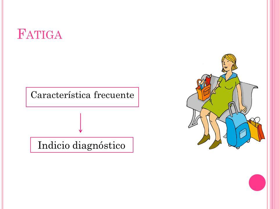 F ATIGA Característica frecuente Indicio diagnóstico