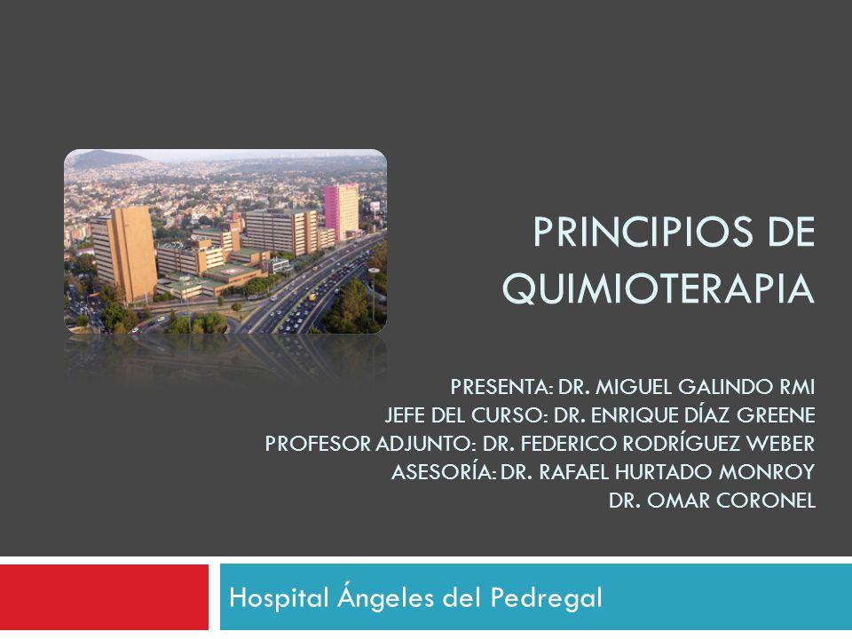 PRINCIPIOS DE QUIMIOTERAPIA PRESENTA: DR. MIGUEL GALINDO RMI JEFE DEL CURSO: DR. ENRIQUE DÍAZ GREENE PROFESOR ADJUNTO: DR. FEDERICO RODRÍGUEZ WEBER AS