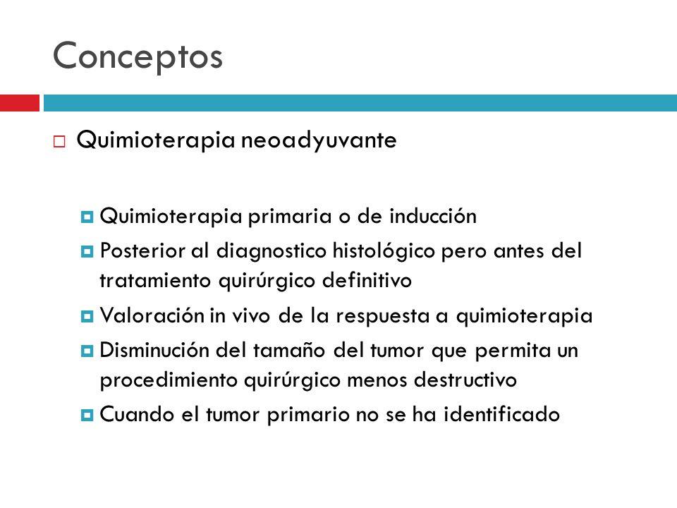 Conceptos Quimioterapia neoadyuvante Quimioterapia primaria o de inducción Posterior al diagnostico histológico pero antes del tratamiento quirúrgico