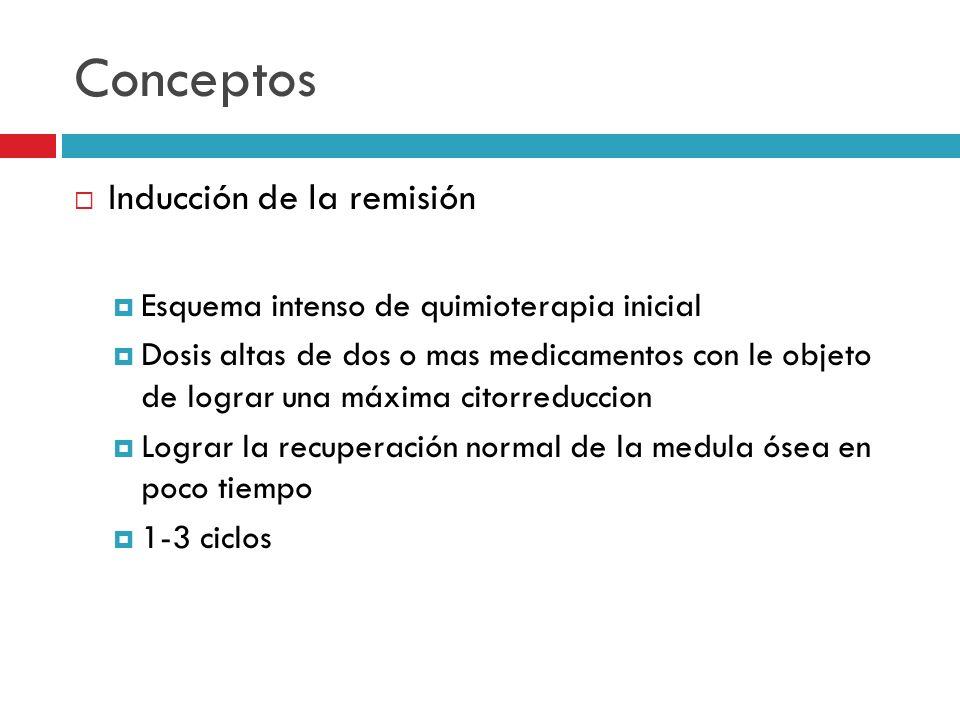 Conceptos Inducción de la remisión Esquema intenso de quimioterapia inicial Dosis altas de dos o mas medicamentos con le objeto de lograr una máxima c