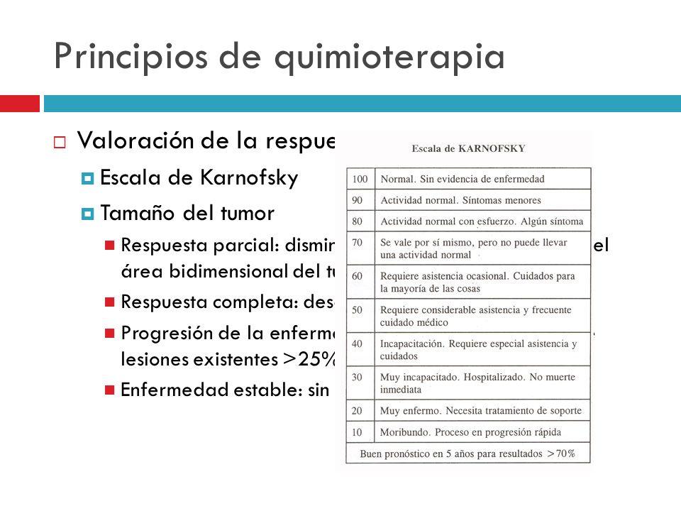 Principios de quimioterapia Valoración de la respuesta Escala de Karnofsky Tamaño del tumor Respuesta parcial: disminución de por lo menos 50% del áre