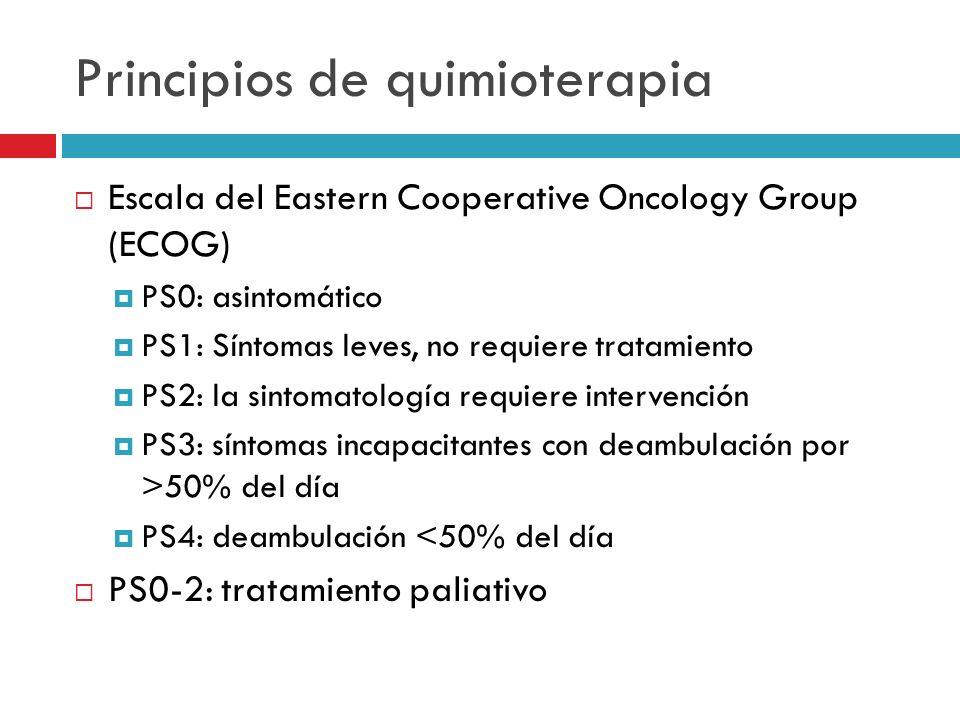 Principios de quimioterapia Escala del Eastern Cooperative Oncology Group (ECOG) PS0: asintomático PS1: Síntomas leves, no requiere tratamiento PS2: l