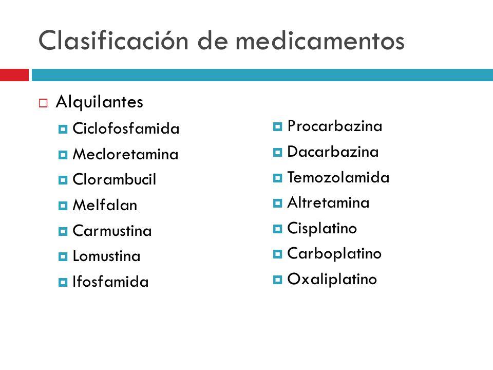Clasificación de medicamentos Alquilantes Ciclofosfamida Mecloretamina Clorambucil Melfalan Carmustina Lomustina Ifosfamida Procarbazina Dacarbazina T