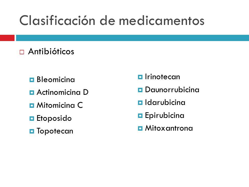 Clasificación de medicamentos Antibióticos Bleomicina Actinomicina D Mitomicina C Etoposido Topotecan Irinotecan Daunorrubicina Idarubicina Epirubicin