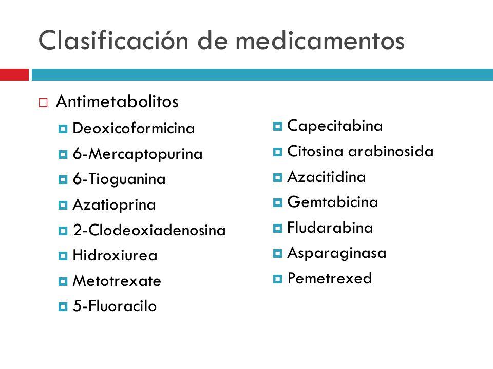Clasificación de medicamentos Antimetabolitos Deoxicoformicina 6-Mercaptopurina 6-Tioguanina Azatioprina 2-Clodeoxiadenosina Hidroxiurea Metotrexate 5