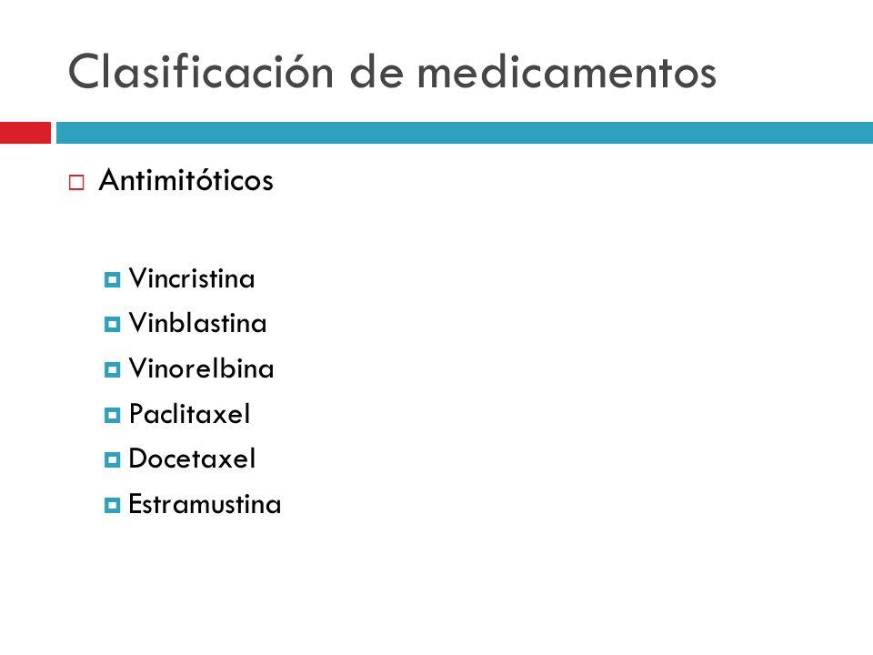Clasificación de medicamentos Antimitóticos Vincristina Vinblastina Vinorelbina Paclitaxel Docetaxel Estramustina