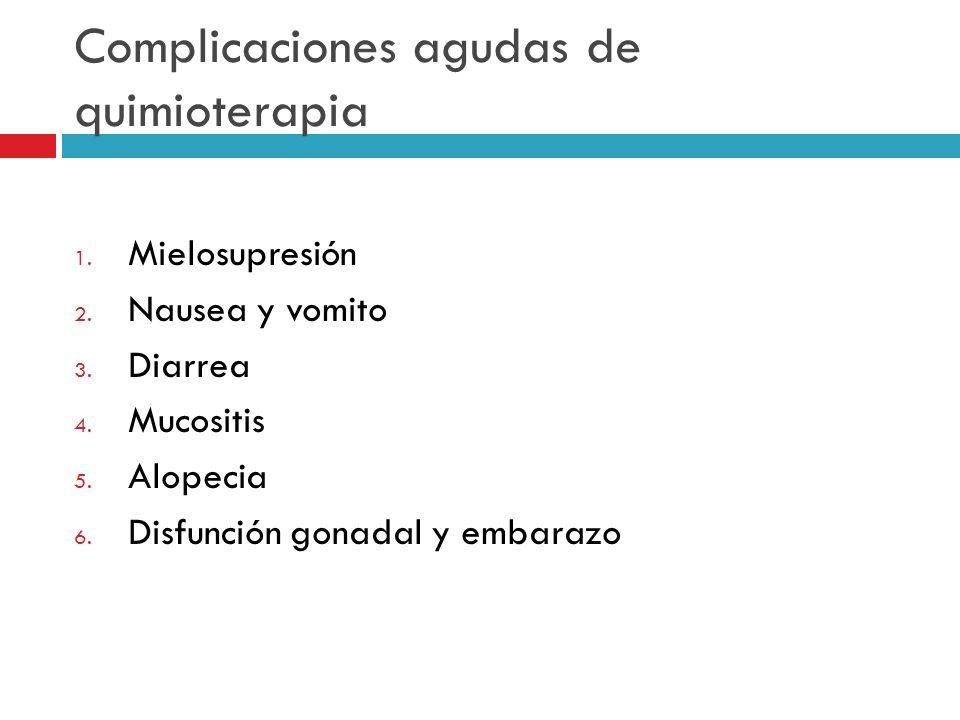 Complicaciones agudas de quimioterapia 1. Mielosupresión 2. Nausea y vomito 3. Diarrea 4. Mucositis 5. Alopecia 6. Disfunción gonadal y embarazo