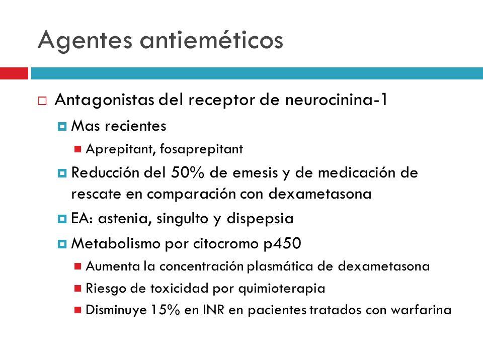 Agentes antieméticos Antagonistas del receptor de neurocinina-1 Mas recientes Aprepitant, fosaprepitant Reducción del 50% de emesis y de medicación de