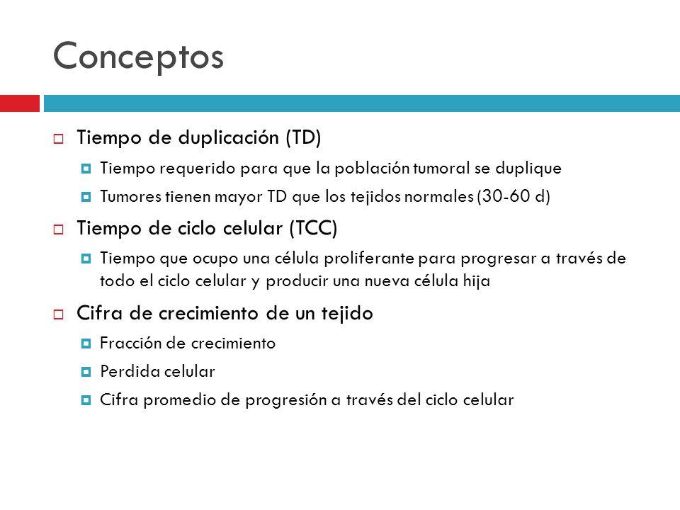 Conceptos Tiempo de duplicación (TD) Tiempo requerido para que la población tumoral se duplique Tumores tienen mayor TD que los tejidos normales (30-6
