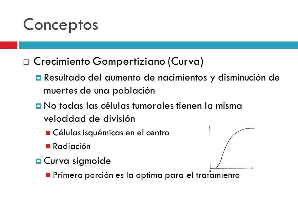 Conceptos Crecimiento Gompertiziano (Curva) Resultado del aumento de nacimientos y disminución de muertes de una población No todas las células tumora