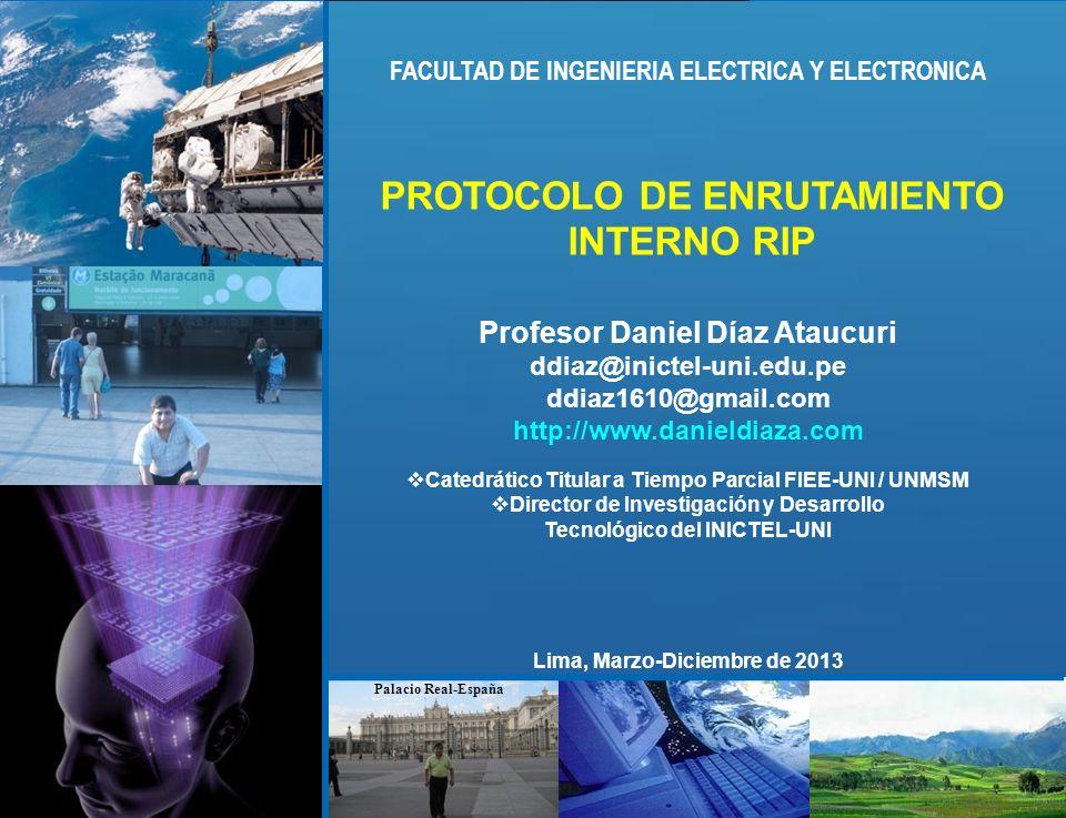 ddiaz@inictel-uni.edu.pe INSTITUTO NACIONAL DE INVESTIGACION Y CAPACITACION DE TELECOMUNICACIONES, INICTEL-UNI Propiedad intelectual de Daniel Díaz @ 2013 PROTOCOLO RIP y OSPFv2 ANALIZANDO TABLAS DE ENRUTAMIENTO Tabla de enrutamiento del Rb: Rb# show ip route Codes: C - connected, S - static, R - RIP, M - mobile, B - BGP D - EIGRP, EX - EIGRP external, O - OSPF, IA - OSPF inter area N1 - OSPF NSSA external type 1, N2 - OSPF NSSA external type 2 E1 - OSPF external type 1, E2 - OSPF external type 2 i - IS-IS, su - IS-IS summary, L1 - IS-IS level-1, L2 - IS-IS level-2 ia - IS-IS inter area, * - candidate default, U - per-user static route o - ODR, P - periodic downloaded static route Gateway of last resort is not set 200.1.1.0/26 is subnetted, 4 subnets R 200.1.1.192 [120/1] via 40.1.2.17, 00:00:14, FastEthernet2/0 R 200.1.1.128 [120/2] via 40.1.2.17, 00:00:14, FastEthernet2/0 [120/2] via 40.1.2.6, 00:00:10, FastEthernet1/0 R 200.1.1.64 [120/1] via 40.1.2.6, 00:00:10, FastEthernet1/0 R 200.1.1.0 [120/1] via 40.1.2.1, 00:00:12, FastEthernet1/1 40.0.0.0/30 is subnetted, 6 subnets R 40.1.2.8 [120/1] via 40.1.2.6, 00:00:10, FastEthernet1/0 R 40.1.2.12 [120/1] via 40.1.2.17, 00:00:14, FastEthernet2/0 [120/1] via 40.1.2.1, 00:00:12, FastEthernet1/1 C 40.1.2.0 is directly connected, FastEthernet1/1 C 40.1.2.4 is directly connected, FastEthernet1/0 C 40.1.2.16 is directly connected, FastEthernet2/0 R 40.1.2.20 [120/1] via 40.1.2.17, 00:00:17, FastEthernet2/0 Rb# Rb# show ip route Codes: C - connected, S - static, R - RIP, M - mobile, B - BGP D - EIGRP, EX - EIGRP external, O - OSPF, IA - OSPF inter area N1 - OSPF NSSA external type 1, N2 - OSPF NSSA external type 2 E1 - OSPF external type 1, E2 - OSPF external type 2 i - IS-IS, su - IS-IS summary, L1 - IS-IS level-1, L2 - IS-IS level-2 ia - IS-IS inter area, * - candidate default, U - per-user static route o - ODR, P - periodic downloaded static route Gateway of last resort is not set 200.1.1.0/26 is subnetted, 4 subnets R 200