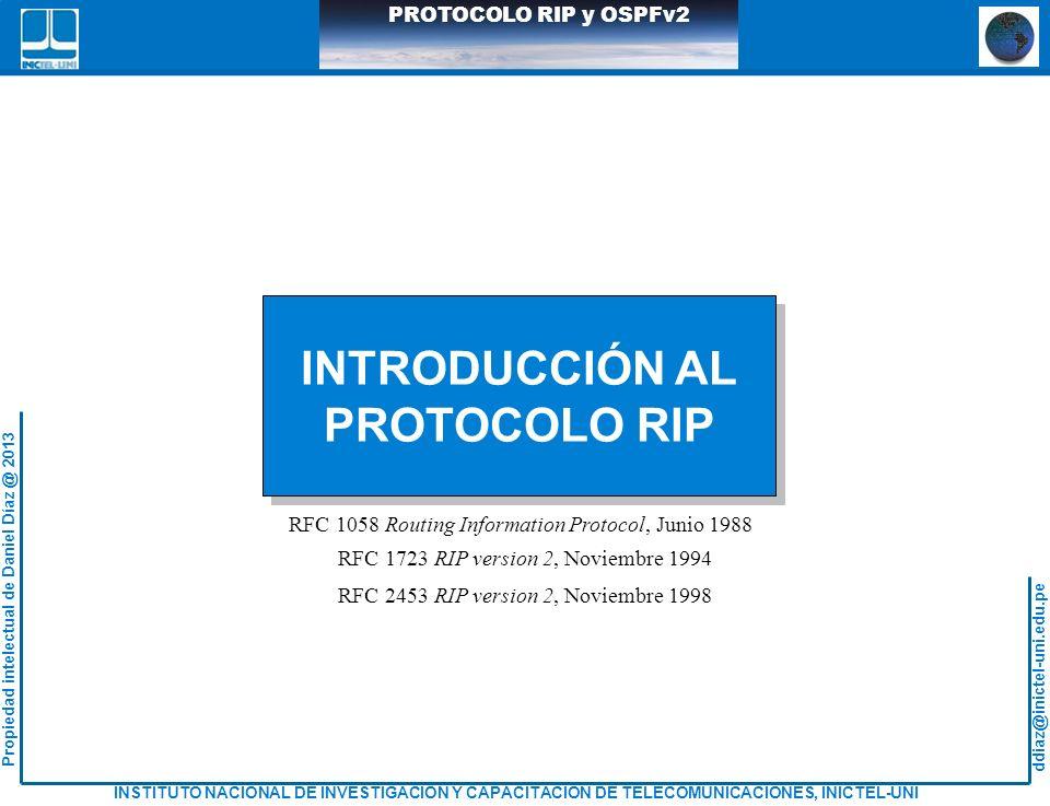 ddiaz@inictel-uni.edu.pe INSTITUTO NACIONAL DE INVESTIGACION Y CAPACITACION DE TELECOMUNICACIONES, INICTEL-UNI Propiedad intelectual de Daniel Díaz @ 2013 PROTOCOLO RIP y OSPFv2 ANALISIS DEL PROTOCOLO RIPv1 Lo0:172.16.15.1/16 RIP v1 R2 R3 R1 S0/1.42 S0/0.221 S0/1.222 S0/0.61 10.2.2.220/30 20.3.3.40/30 S0/0.41 30.4.4.60/30 S0/1.62 40.5.5.28/30 Fa0/0.29 Lo2:172.32.6.7/16 Lo1:132.2.4.7/16 Red Paquetes RIPv1