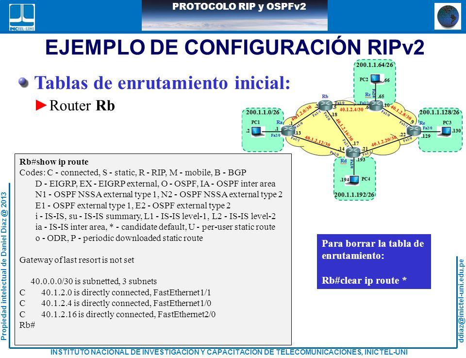 ddiaz@inictel-uni.edu.pe INSTITUTO NACIONAL DE INVESTIGACION Y CAPACITACION DE TELECOMUNICACIONES, INICTEL-UNI Propiedad intelectual de Daniel Díaz @ 2013 PROTOCOLO RIP y OSPFv2 Tablas de enrutamiento inicial: Router Rb Rb#show ip route Codes: C - connected, S - static, R - RIP, M - mobile, B - BGP D - EIGRP, EX - EIGRP external, O - OSPF, IA - OSPF inter area N1 - OSPF NSSA external type 1, N2 - OSPF NSSA external type 2 E1 - OSPF external type 1, E2 - OSPF external type 2 i - IS-IS, su - IS-IS summary, L1 - IS-IS level-1, L2 - IS-IS level-2 ia - IS-IS inter area, * - candidate default, U - per-user static route o - ODR, P - periodic downloaded static route Gateway of last resort is not set 40.0.0.0/30 is subnetted, 3 subnets C 40.1.2.0 is directly connected, FastEthernet1/1 C 40.1.2.4 is directly connected, FastEthernet1/0 C 40.1.2.16 is directly connected, FastEthernet2/0 Rb# EJEMPLO DE CONFIGURACIÓN RIPv2 Para borrar la tabla de enrutamiento: Rb#clear ip route *