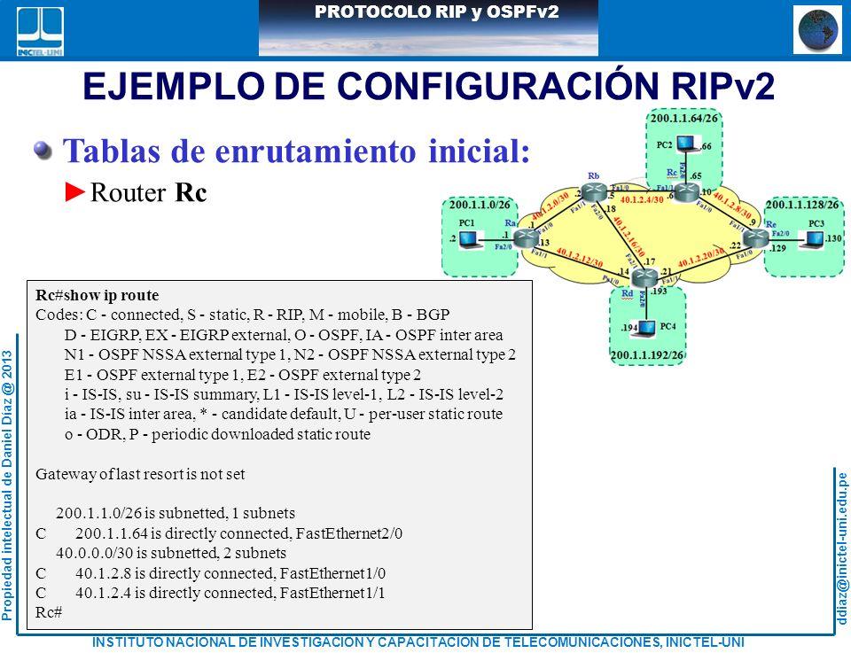 ddiaz@inictel-uni.edu.pe INSTITUTO NACIONAL DE INVESTIGACION Y CAPACITACION DE TELECOMUNICACIONES, INICTEL-UNI Propiedad intelectual de Daniel Díaz @ 2013 PROTOCOLO RIP y OSPFv2 Tablas de enrutamiento inicial: Router Rc EJEMPLO DE CONFIGURACIÓN RIPv2 Rc#show ip route Codes: C - connected, S - static, R - RIP, M - mobile, B - BGP D - EIGRP, EX - EIGRP external, O - OSPF, IA - OSPF inter area N1 - OSPF NSSA external type 1, N2 - OSPF NSSA external type 2 E1 - OSPF external type 1, E2 - OSPF external type 2 i - IS-IS, su - IS-IS summary, L1 - IS-IS level-1, L2 - IS-IS level-2 ia - IS-IS inter area, * - candidate default, U - per-user static route o - ODR, P - periodic downloaded static route Gateway of last resort is not set 200.1.1.0/26 is subnetted, 1 subnets C 200.1.1.64 is directly connected, FastEthernet2/0 40.0.0.0/30 is subnetted, 2 subnets C 40.1.2.8 is directly connected, FastEthernet1/0 C 40.1.2.4 is directly connected, FastEthernet1/1 Rc#