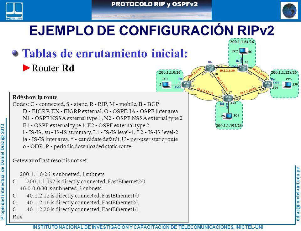 ddiaz@inictel-uni.edu.pe INSTITUTO NACIONAL DE INVESTIGACION Y CAPACITACION DE TELECOMUNICACIONES, INICTEL-UNI Propiedad intelectual de Daniel Díaz @ 2013 PROTOCOLO RIP y OSPFv2 Tablas de enrutamiento inicial: Router Rd EJEMPLO DE CONFIGURACIÓN RIPv2 Rd#show ip route Codes: C - connected, S - static, R - RIP, M - mobile, B - BGP D - EIGRP, EX - EIGRP external, O - OSPF, IA - OSPF inter area N1 - OSPF NSSA external type 1, N2 - OSPF NSSA external type 2 E1 - OSPF external type 1, E2 - OSPF external type 2 i - IS-IS, su - IS-IS summary, L1 - IS-IS level-1, L2 - IS-IS level-2 ia - IS-IS inter area, * - candidate default, U - per-user static route o - ODR, P - periodic downloaded static route Gateway of last resort is not set 200.1.1.0/26 is subnetted, 1 subnets C 200.1.1.192 is directly connected, FastEthernet2/0 40.0.0.0/30 is subnetted, 3 subnets C 40.1.2.12 is directly connected, FastEthernet1/0 C 40.1.2.16 is directly connected, FastEthernet2/1 C 40.1.2.20 is directly connected, FastEthernet1/1 Rd#