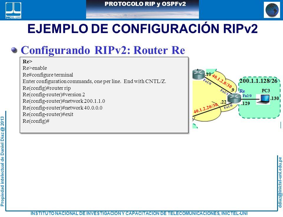 ddiaz@inictel-uni.edu.pe INSTITUTO NACIONAL DE INVESTIGACION Y CAPACITACION DE TELECOMUNICACIONES, INICTEL-UNI Propiedad intelectual de Daniel Díaz @ 2013 PROTOCOLO RIP y OSPFv2 EJEMPLO DE CONFIGURACIÓN RIPv2 Re> Re>enable Re#configure terminal Enter configuration commands, one per line.