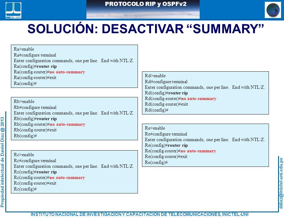 ddiaz@inictel-uni.edu.pe INSTITUTO NACIONAL DE INVESTIGACION Y CAPACITACION DE TELECOMUNICACIONES, INICTEL-UNI Propiedad intelectual de Daniel Díaz @ 2013 PROTOCOLO RIP y OSPFv2 SOLUCIÓN: DESACTIVAR SUMMARY Ra>enable Ra#configure terminal Enter configuration commands, one per line.
