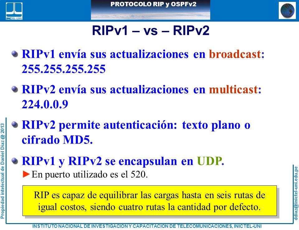 ddiaz@inictel-uni.edu.pe INSTITUTO NACIONAL DE INVESTIGACION Y CAPACITACION DE TELECOMUNICACIONES, INICTEL-UNI Propiedad intelectual de Daniel Díaz @ 2013 PROTOCOLO RIP y OSPFv2 CONFIGURACIÓN DE ROUTER CON OSPF R1>enable R1#configute terminal R1(config)#router ospf 1 R1(config-router)#network 30.3.3.0 0.0.0.3 area 1 R1(config-router)#network 30.3.3.8 0.0.0.3 area 1 R1(config-router)#network 210.1.1.64 0.0.0.63 area 1 R1(config-router)#exit R2>enable R2#configute terminal R2(config)#router ospf 1 R2(config-router)#network 30.3.3.4 0.0.0.3 area 1 R2(config-router)#network 30.3.3.8 0.0.0.3 area 1 R2(config-router)#network 210.1.1.128 0.0.0.63 area 1 R2(config-router)#exit