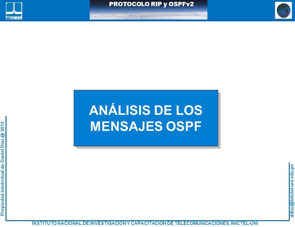 ddiaz@inictel-uni.edu.pe INSTITUTO NACIONAL DE INVESTIGACION Y CAPACITACION DE TELECOMUNICACIONES, INICTEL-UNI Propiedad intelectual de Daniel Díaz @ 2013 PROTOCOLO RIP y OSPFv2 ANÁLISIS DE LOS MENSAJES OSPF ANÁLISIS DE LOS MENSAJES OSPF