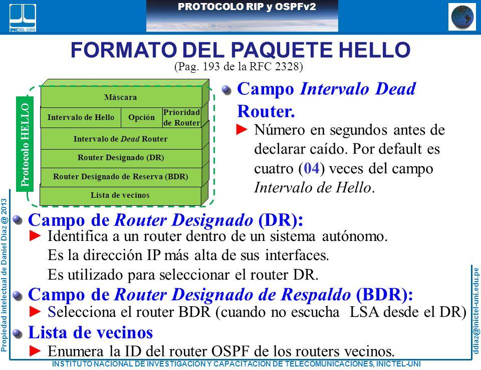 ddiaz@inictel-uni.edu.pe INSTITUTO NACIONAL DE INVESTIGACION Y CAPACITACION DE TELECOMUNICACIONES, INICTEL-UNI Propiedad intelectual de Daniel Díaz @ 2013 PROTOCOLO RIP y OSPFv2 Campo Intervalo Dead Router.
