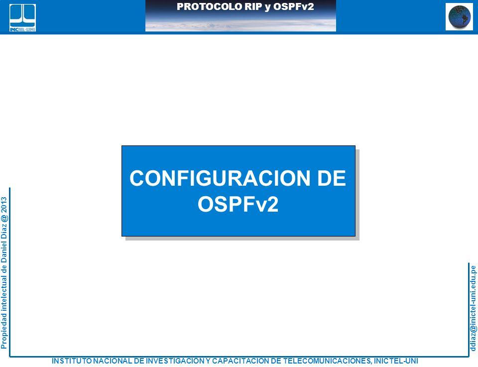 ddiaz@inictel-uni.edu.pe INSTITUTO NACIONAL DE INVESTIGACION Y CAPACITACION DE TELECOMUNICACIONES, INICTEL-UNI Propiedad intelectual de Daniel Díaz @ 2013 PROTOCOLO RIP y OSPFv2 CONFIGURACION DE OSPFv2 CONFIGURACION DE OSPFv2
