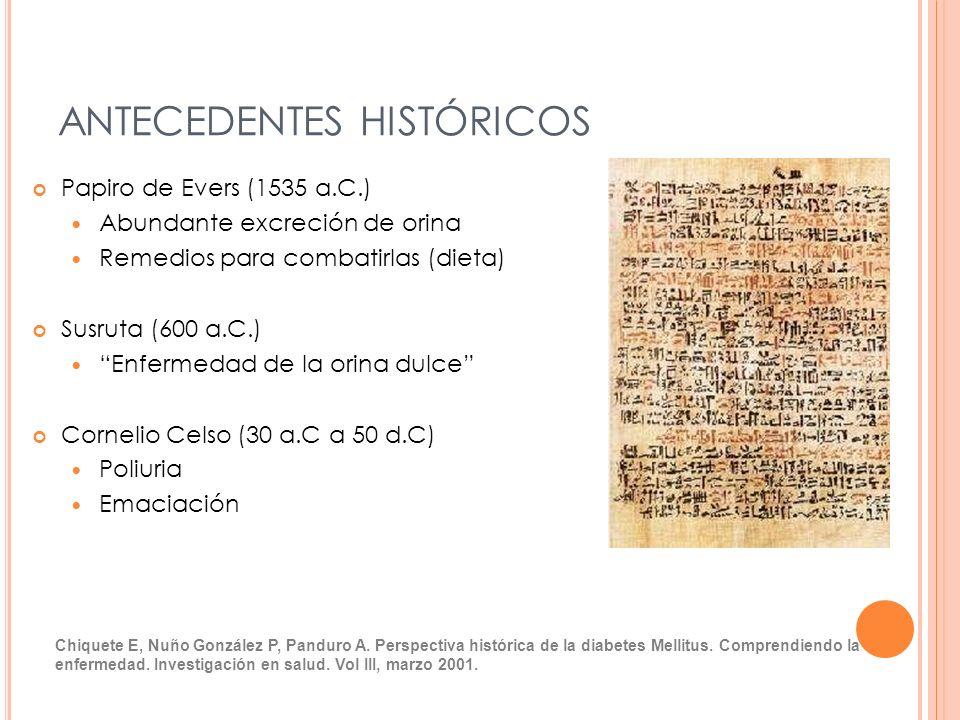 ANTECEDENTES HISTÓRICOS Papiro de Evers (1535 a.C.) Abundante excreción de orina Remedios para combatirlas (dieta) Susruta (600 a.C.) Enfermedad de la