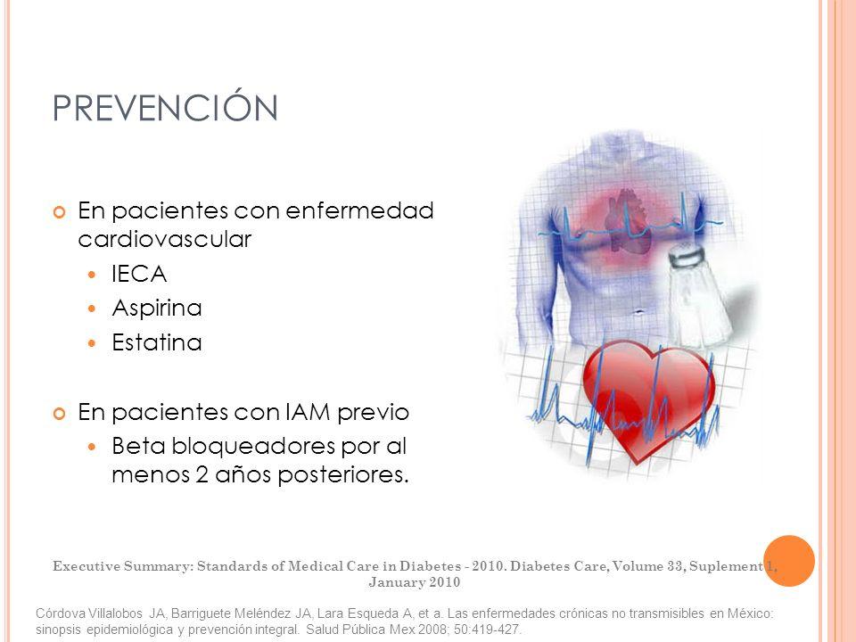 PREVENCIÓN En pacientes con enfermedad cardiovascular IECA Aspirina Estatina En pacientes con IAM previo Beta bloqueadores por al menos 2 años posteri