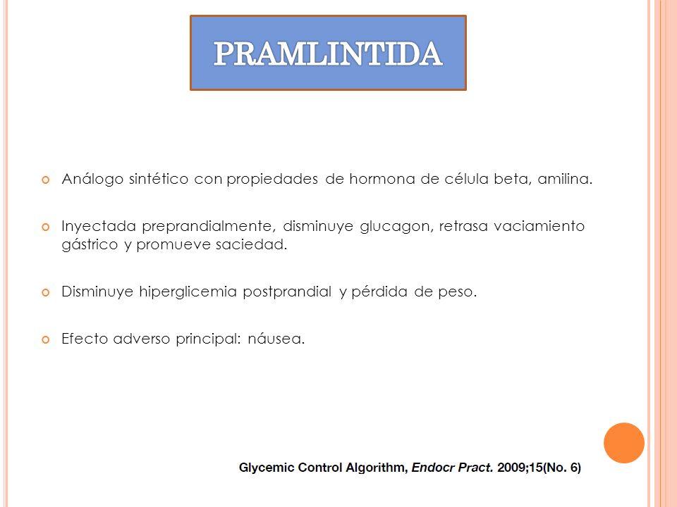 Análogo sintético con propiedades de hormona de célula beta, amilina. Inyectada preprandialmente, disminuye glucagon, retrasa vaciamiento gástrico y p