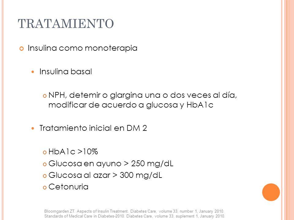 TRATAMIENTO Insulina como monoterapia Insulina basal NPH, detemir o glargina una o dos veces al día, modificar de acuerdo a glucosa y HbA1c Tratamient