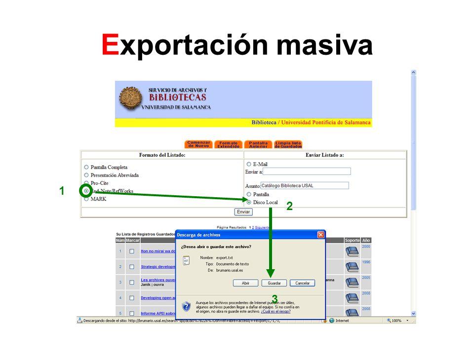 Importar archivo export.txt desde RefWorks 1.Seleccionar FILTRO Innopac Int.