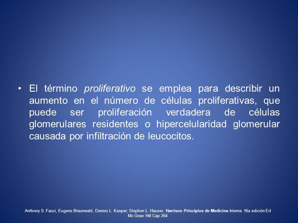El término proliferativo se emplea para describir un aumento en el número de células proliferativas, que puede ser proliferación verdadera de células
