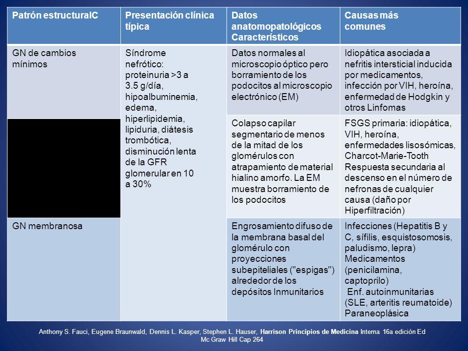 Patrón estructuralCPresentación clínica típica Datos anatomopatológicos Característicos Causas más comunes GN de cambios mínimos Síndrome nefrótico: p
