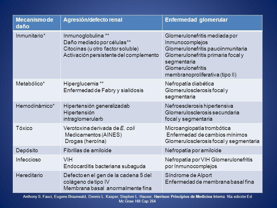 Mecanismo de daño Agresión/defecto renalEnfermedad glomerular Inmunitario*Inmunoglobulina ** Daño mediado por células** Citocinas (u otro factor solub