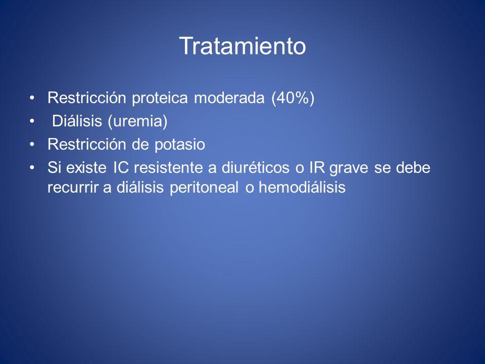 Tratamiento Restricción proteica moderada (40%) Diálisis (uremia) Restricción de potasio Si existe IC resistente a diuréticos o IR grave se debe recur