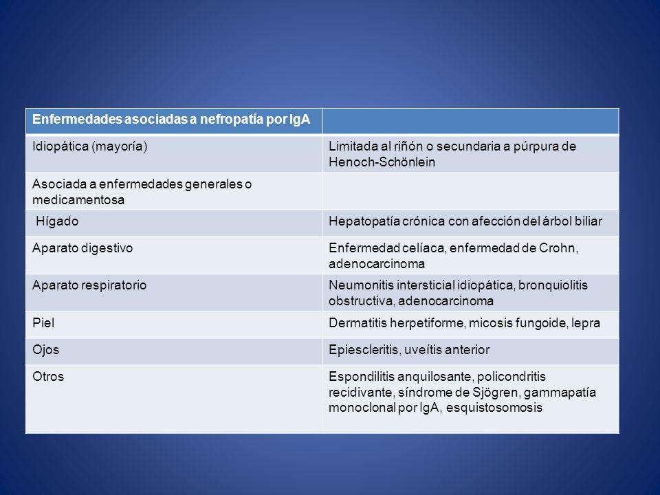 Enfermedades asociadas a nefropatía por IgA Idiopática (mayoría) Limitada al riñón o secundaria a púrpura de Henoch-Schönlein Asociada a enfermedades