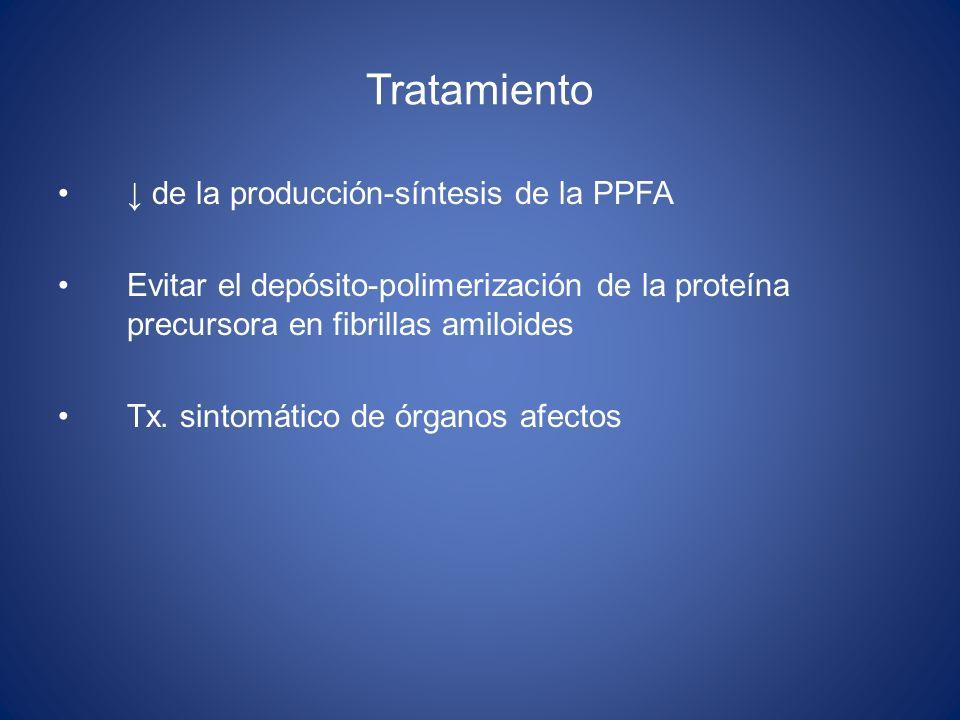 Tratamiento de la producción-síntesis de la PPFA Evitar el depósito-polimerización de la proteína precursora en fibrillas amiloides Tx. sintomático de