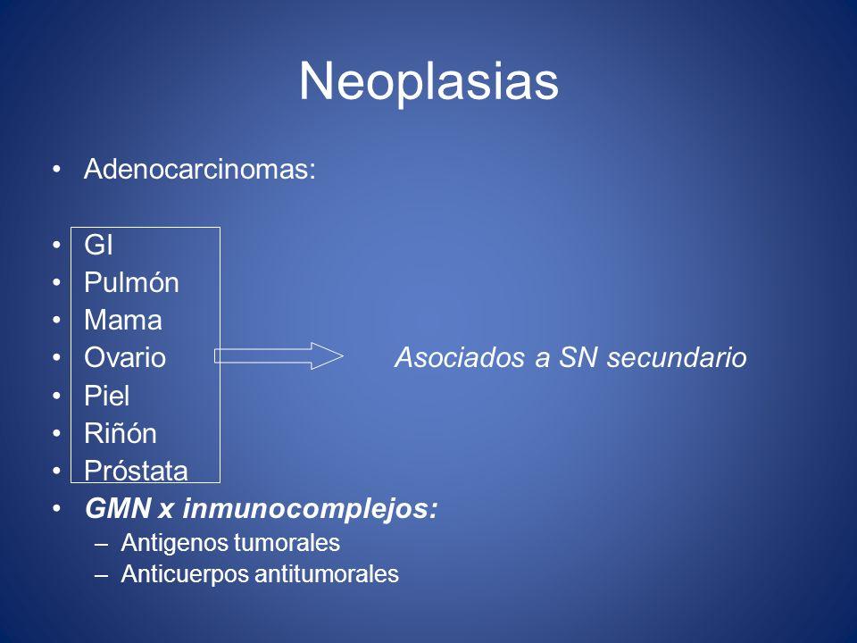Neoplasias Adenocarcinomas: GI Pulmón Mama Ovario Asociados a SN secundario Piel Riñón Próstata GMN x inmunocomplejos: –Antigenos tumorales –Anticuerp