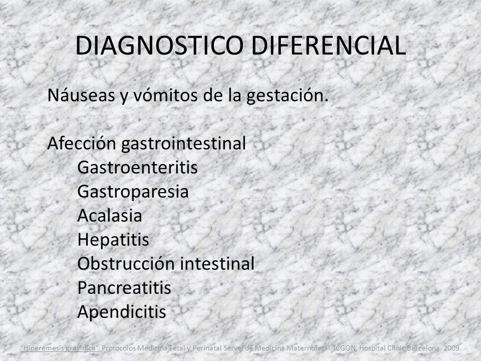 DIAGNOSTICO DIFERENCIAL Náuseas y vómitos de la gestación. Afección gastrointestinal Gastroenteritis Gastroparesia Acalasia Hepatitis Obstrucción inte