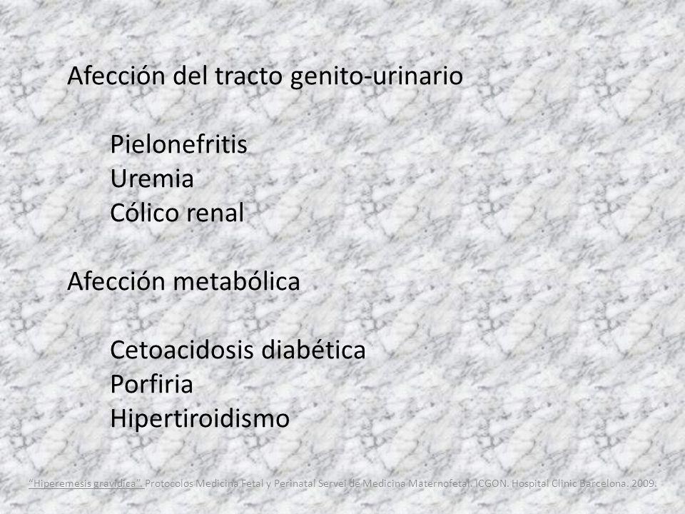 Afección del tracto genito-urinario Pielonefritis Uremia Cólico renal Afección metabólica Cetoacidosis diabética Porfiria Hipertiroidismo Hiperemesis