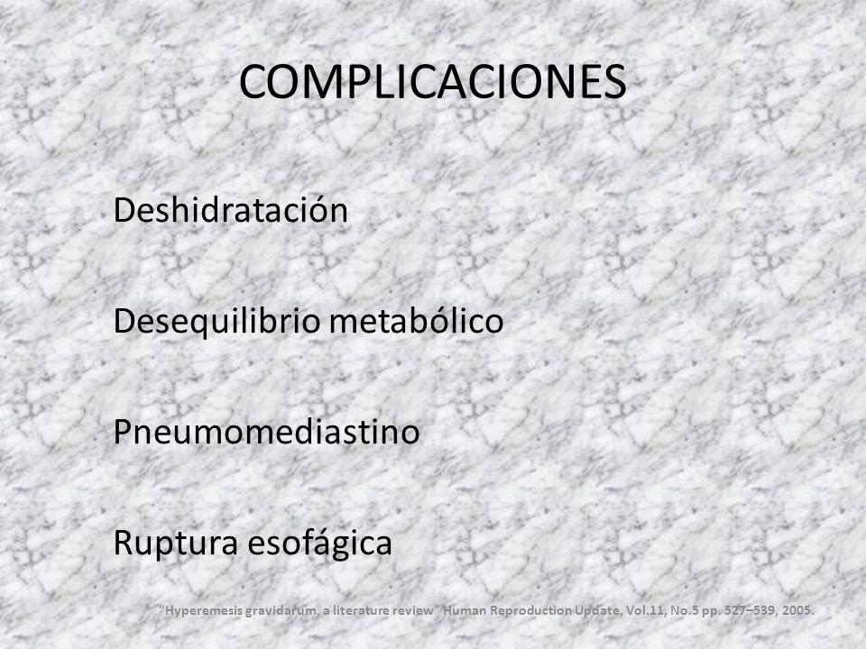 COMPLICACIONES Deshidratación Desequilibrio metabólico Pneumomediastino Ruptura esofágica Hyperemesis gravidarum, a literature review Human Reproducti