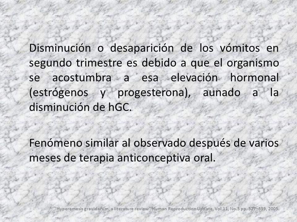 Disminución o desaparición de los vómitos en segundo trimestre es debido a que el organismo se acostumbra a esa elevación hormonal (estrógenos y proge