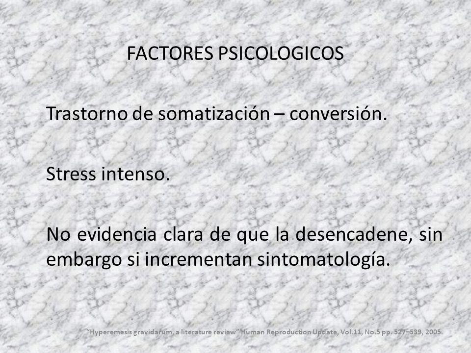 FACTORES PSICOLOGICOS Trastorno de somatización – conversión. Stress intenso. No evidencia clara de que la desencadene, sin embargo si incrementan sin