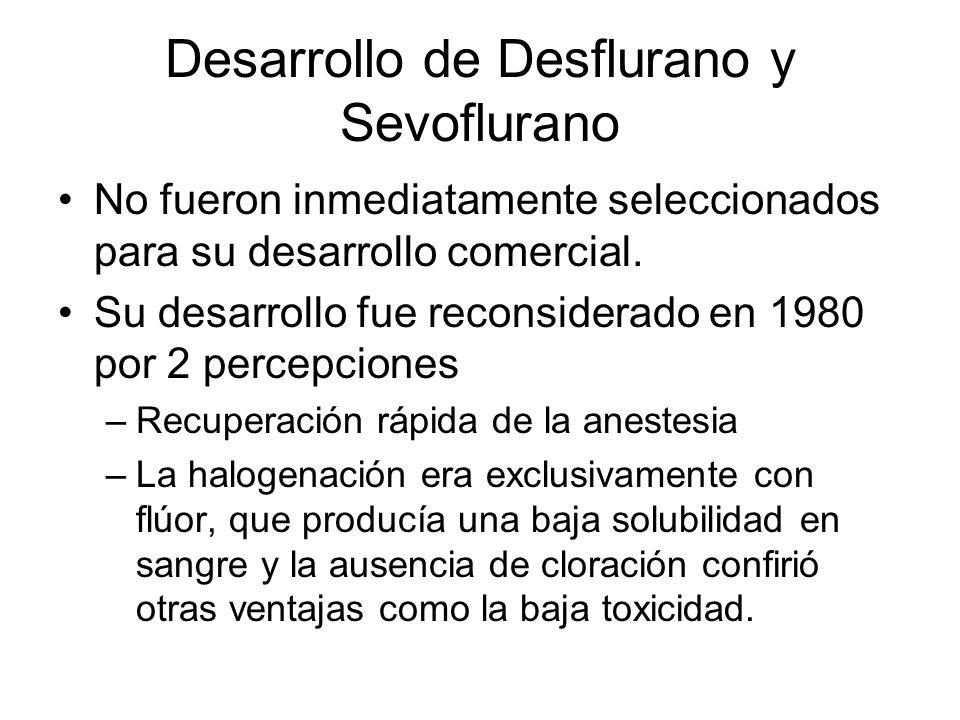 Desarrollo de Desflurano y Sevoflurano A mediados de 1980 se descubrió que el coeficiente de partición del desflurano es de 0.45 igualando el del N 2 O de 0.46.