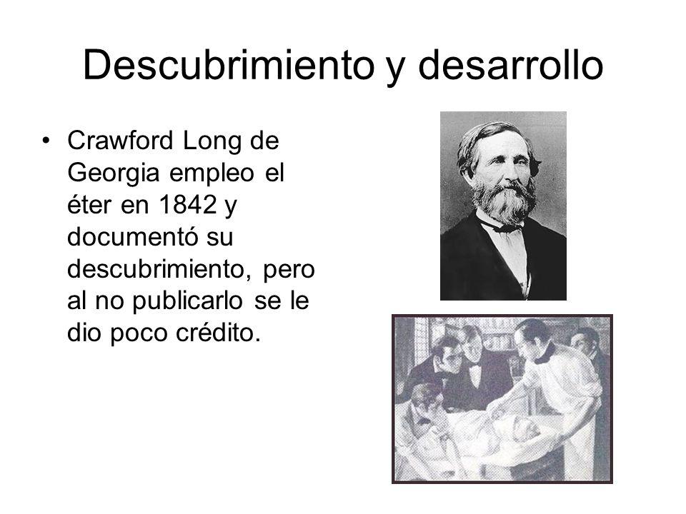 Descubrimiento y Desarrollo N 2 O, éter y cloroformo fueron administrados como anestésicos durante casi un siglo.