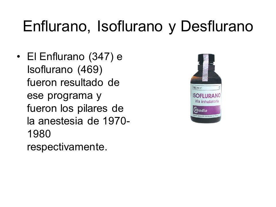 Enflurano, Isoflurano y Desflurano Desflurano (653) inicialmente fue producido a través de una síntesis potencialmente explosiva con flúor.