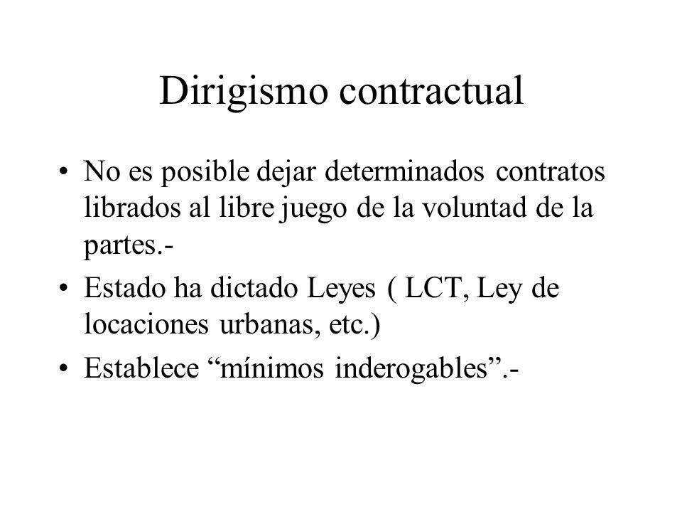 MANIFESTACIONES DE LA CRISIS DE LOS CONTRATOS 1)Dirigismo contractual.- 2)Nuevas formas de contratos.- 3)Intervención judicial en las relaciones contr