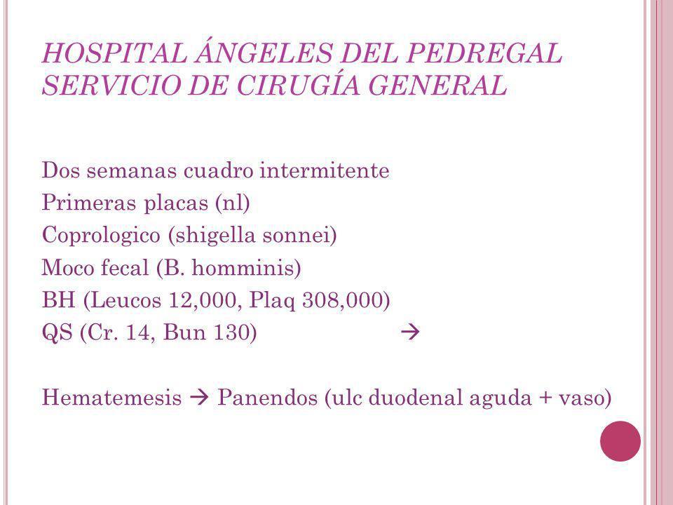 HOSPITAL ÁNGELES DEL PEDREGAL SERVICIO DE CIRUGÍA GENERAL Dos semanas cuadro intermitente Primeras placas (nl) Coprologico (shigella sonnei) Moco fecal (B.