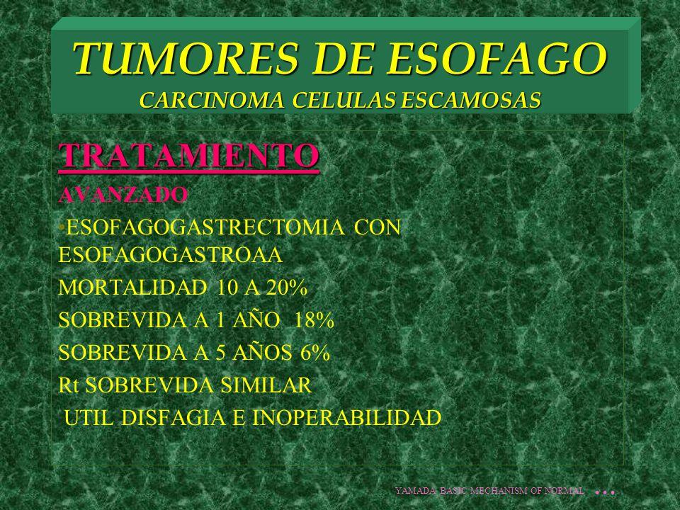 TUMORES DE ESOFAGO CARCINOMA CELULAS ESCAMOSAS TRATAMIENTO AVANZADO ESOFAGOGASTRECTOMIA CON ESOFAGOGASTROAA MORTALIDAD 10 A 20% SOBREVIDA A 1 AÑO 18%